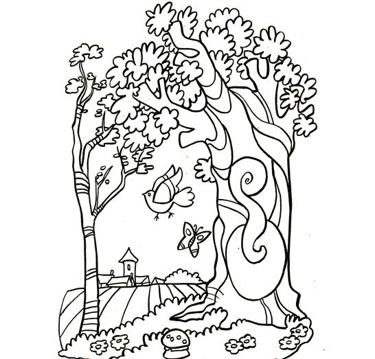 Plansa De Colorat Copac Pasare Fluture