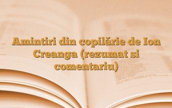 Amintiri din copilărie de Ion Creanga (rezumat si comentariu)