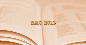 BAC 2013