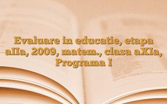 Evaluare in educatie, etapa aIIa, 2009, matem., clasa aXIa, Programa I