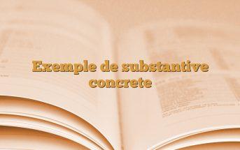 Exemple de substantive concrete