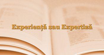 Experienţă sau Expertiză