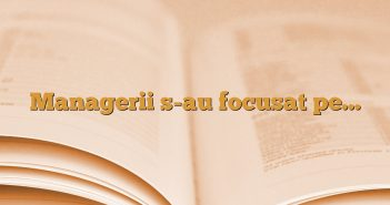 Managerii s-au focusat pe…