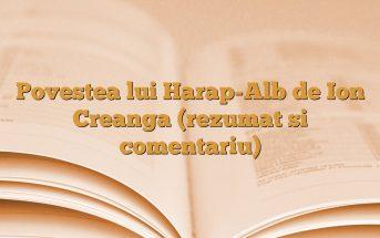 Povestea lui Harap-Alb de Ion Creanga (rezumat si comentariu)