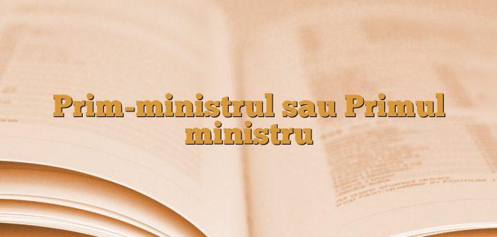 Prim-ministrul sau Primul ministru