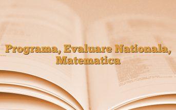 Programa, Evaluare Nationala, Matematica