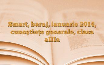 Smart, baraj, ianuarie 2014, cunoştinţe generale, clasa aIIIa