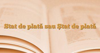 Stat de plată sau Ştat de plată