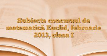 Subiecte concursul de matematică Euclid, februarie 2013, clasa I