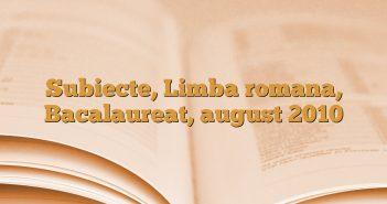 Subiecte, Limba romana, Bacalaureat, august 2010