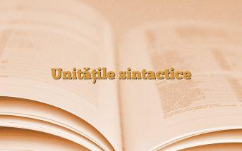 Unităţile sintactice