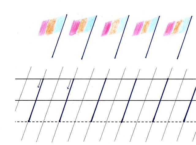 Scris de mana - Linioara oblica mare subrand